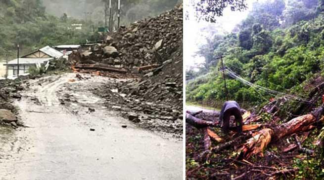 Heavy rainfall triggered multiple landslide in Bomdila, Dirang ,Kalaktang