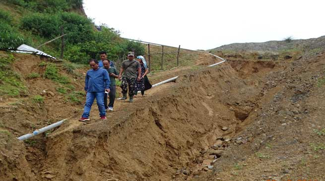 Techi Kaso inspected damaged roads and Landslide  in Itanagar