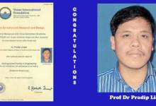 "Photo of Prof Dr Pradip Lingfa of NERIST conferred "" Distinguished Faculty in Engineering """