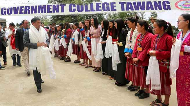 Tawang- CM Pema Khandu visits Government College