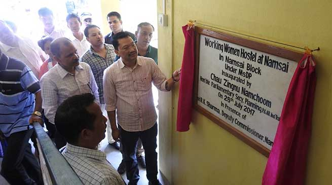 Chow Zingnu Namchoom, on Friday inaugurated three buildings including Double Storied Working Women Hostel,