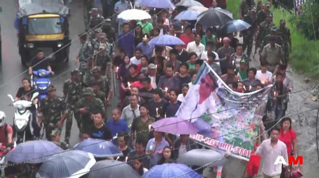 Ojing Tayeng brutal murder case- AESDU organises candle light rally