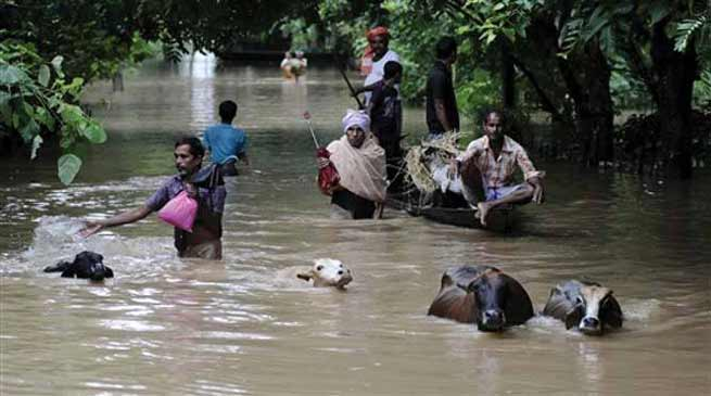 Assam- NH37 closed due to flood water flowing over National Highway