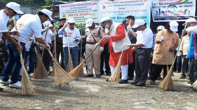 Khonsa- Guv PB Acharya participates in Swachh Bharat Abhiyan