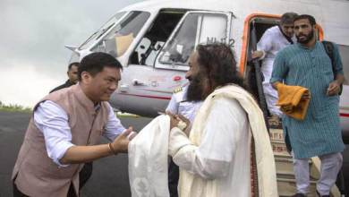 Photo of Itanagar- Khandu accorded warm welcome to Sri Sri Ravi Shankar