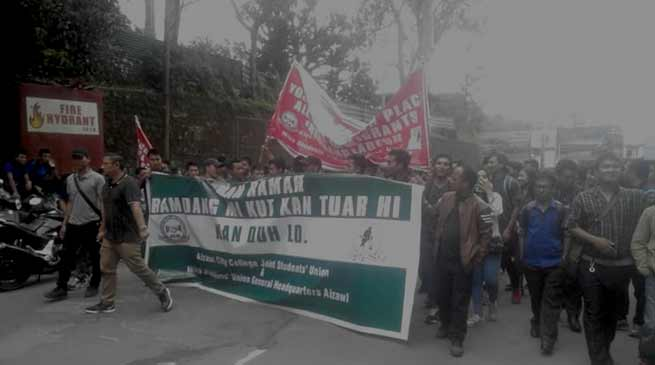 Mizo Students Union organised rally demanding deportation of Chakma Foreigners
