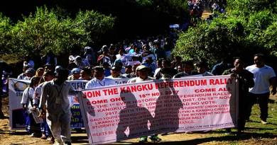 "Rally with Slogan ""No road no vote"" at Kangku"