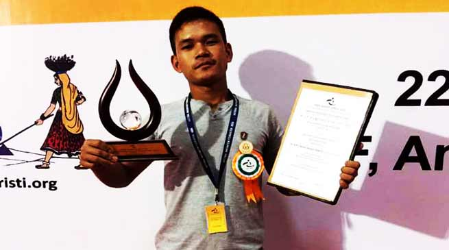 Arunachal Youth Anang Tadar receive Dr. APJ Abdul Kalam IGNITE Award
