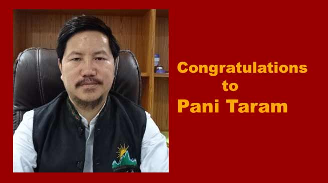 "Pani Taram selected for ""Adarsh Yuva Vidhyak Puraskar ""Award"
