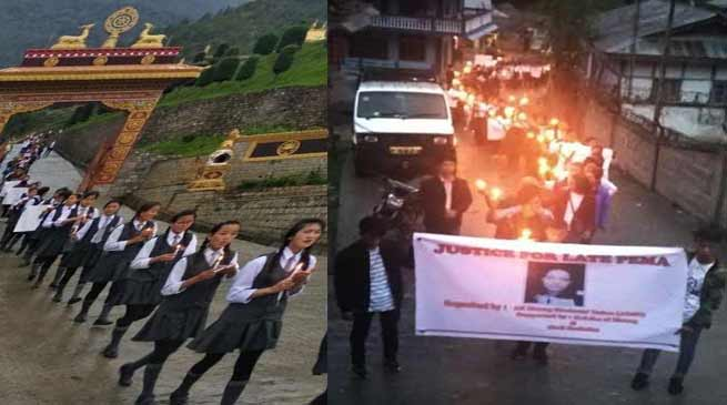 Arunachal: candle light march in memory of late Pema at Dirang