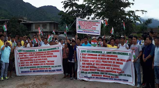 Arunachal: Public protest demanding a stop to Bombing practice and shifting of IAF bombing zone