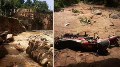Photo of Itanagar :Heavy rain damaged land protection wall, washes away two wheelers at Modirijo colony