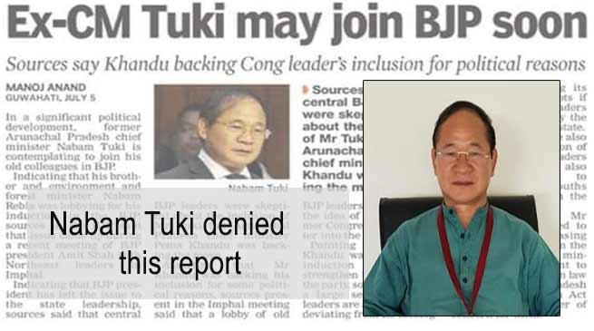 Arunachal: Nabam Tuki denied any move to join BJP