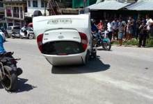 Itanagar : Car turns over after hitting Nano in Bank Tinali