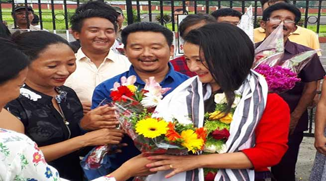 Arunachal: Dr Joram Aniya Tana accorded warm reception on her arrival
