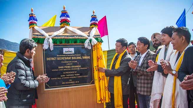 Arunachal: Khandu lays foundation stone for Tawang district secretariat building