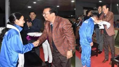 Arunachal: Mein felicitates medal winners of 1st NE Olympic Games 2018