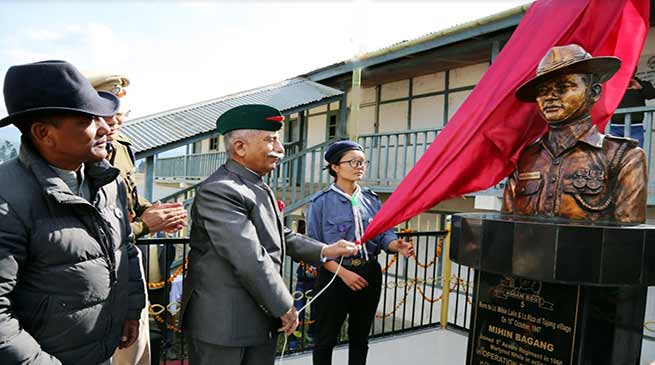 Arunachal Governor unveils bust statue of Martyr Mihin Bagang