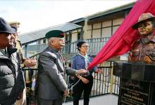 Photo of Arunachal Governor unveils bust statue of Martyr Mihin Bagang