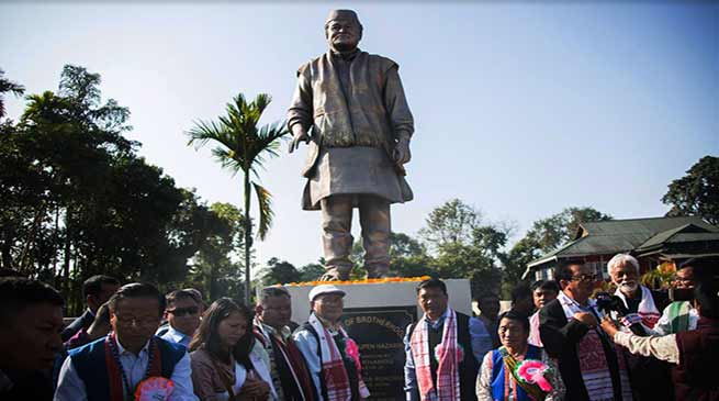 Arunachal CM unveil statue of Late Dr Bhupen Hazarika at Bolung
