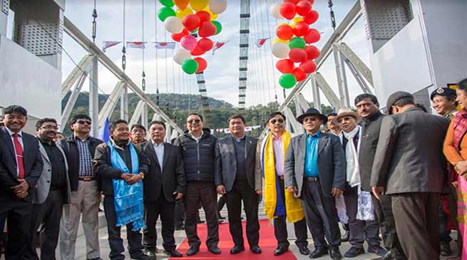 Arunachal: Khandu inaugurates country's longest single lane steel cable suspension bridge