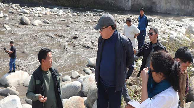 Arunachal: Rebia inspects Silting problem of Ranganadi in downstream