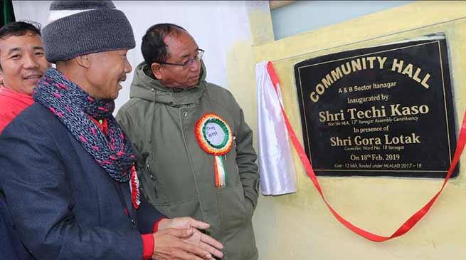 Itanagar : Kaso inaugurates Community hall in AB Sector