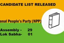 Photo of Arunachal: NPP release Candidate list for Assembly and Lok Sabha Elections