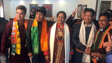 Photo of Arunachal CM Pema Khandu campaigning in Ladakh for BJP Candidate