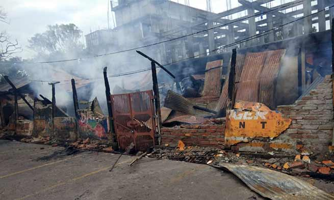Arunachal- 33 shops gutted in fire at Pasighat