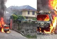 Itanagar: A car brought and burned in front Tapir Gao's residence