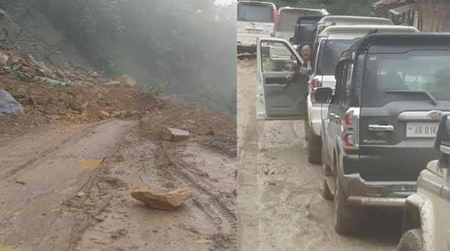 Arunachal: Landslide blocked Joram Koloriang Road