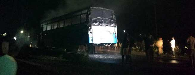 APST bus caught fire after a collision with Bike near Biswanath Charali in Assam