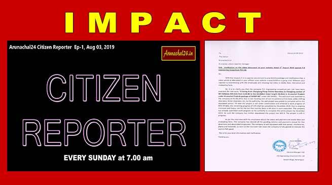 Arunachal24 Citizen Reporter's impact:TK Eng clarifies work status