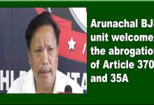 Photo of Arunachal BJP unit welcome the abrogation of Article 370 and 35A