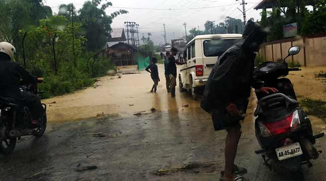 Itanagar: Heavy rainfalls triggers mudslides, water logging in twin capital city