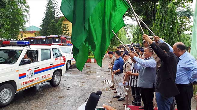 Itanagar: Felix flags off 5 PCR Vans, 7 fire tenders, 5 Riot control vehicles of police department
