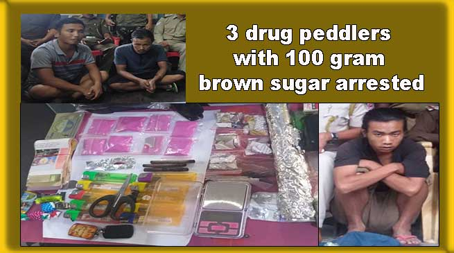 Arunachal: 3 drug peddlers with 100 gram brown sugar arrested by Roing Police