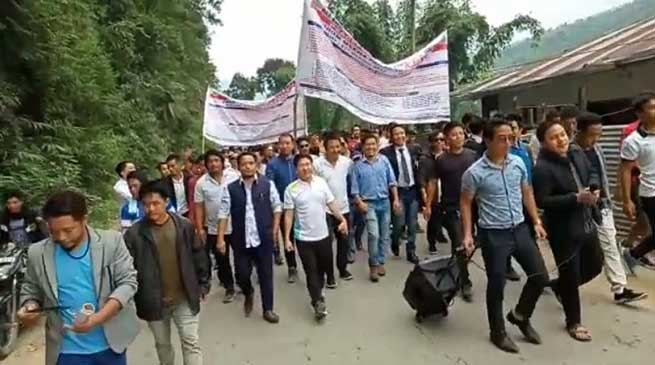 Arunachal: AEKDSU takes out protest march in Seppa to press several demands