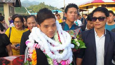 Photo of Arunachal:Taluk Hilli, MMA fighter accorded warm reception