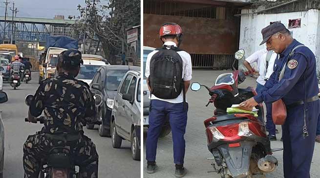 Itanagar- Helmetless cop caught on camera in capital complex