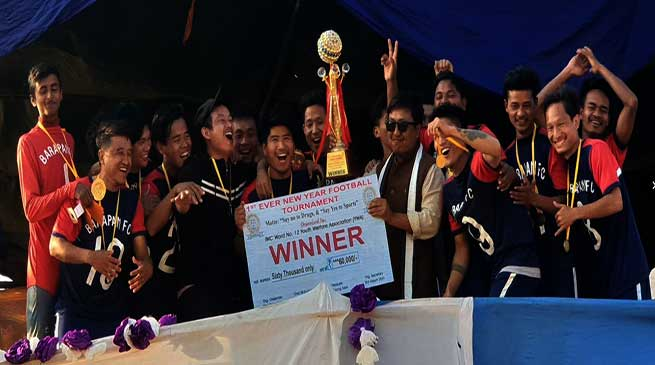 "Barapani FC lift "" first ever new year football trophy """