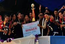 "Photo of Barapani FC lift "" first ever new year football trophy """