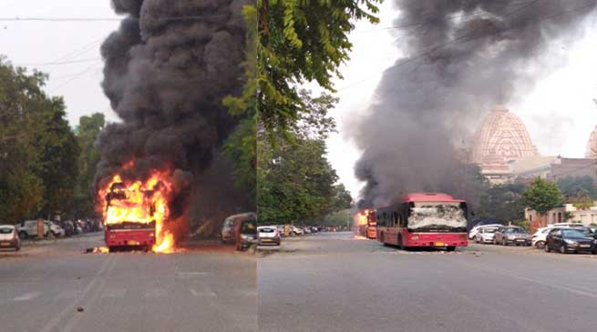 Anti-CAB violence erupts in Delhi, 4 buses burnt, 2 injured