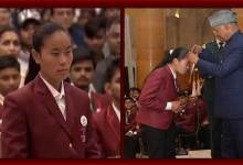 Photo of Arunachali girl Kumari Pema honoured with Bravery Award