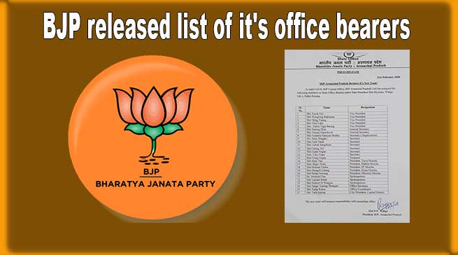 Arunachal: State BJP released list of it's new office bearers