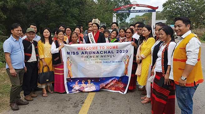 Kingfisher Miss Arunachal, Tokmem Mengu receives rousing welcome back home