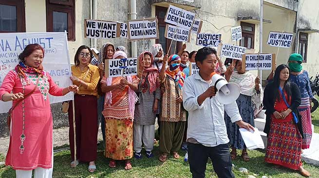 PMC sanitary staffs cries for release of 13 months pending salaries