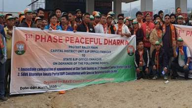Photo of Itanagar: Capital BJP workers protest demanding removal of Tarh Soping as president