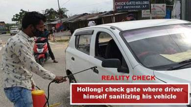Reality Check: Drivers themselves santizing their vehicles at Hollongi check gate